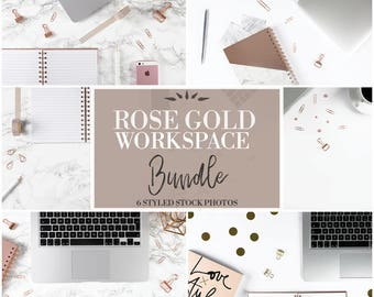 Rose Gold Workspace Bundle Of 6 Photos | Flat Lay Photo | Stationery | Styled Stock Photography | Pink |