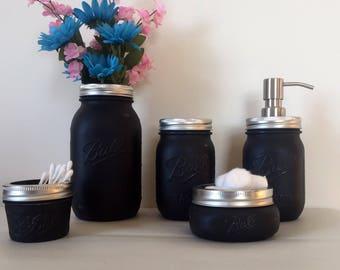 mason jar bathroom set. Amazing Black Mason Jar Bath Set  jar bath set Etsy
