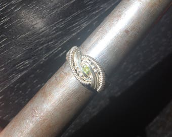 Wire Wrapped Ring- Faceted Peridot