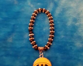 New kids 6mm Pearls Beads stretch bracelet with Batman charm