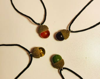 Acorn crystal necklaces