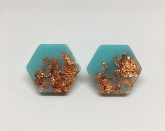 COLOUR POP turquoise & rose gold leaf hexie stud resin earrings