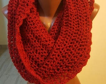 Handmade Scarf / Scarves / Infinity Crochet Scarf / Red  Scarf / Chunky Scarf / Winter Scarf / Winter Shawl / Gift for Her / Crochet Scarf