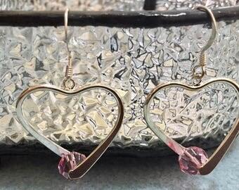 Heart shaped Swarovski earrings