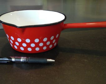 Vintage French Enamelware Cookware - 16cm Red/White Polka Dot