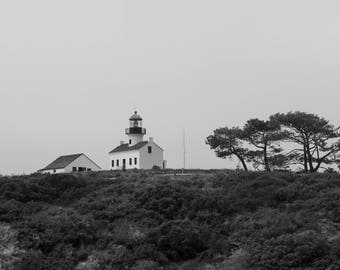 Lighthouse, Point Loma, Tree, Black and White, Wall Art, Landscape Photography, Photo Print, California, San Diego