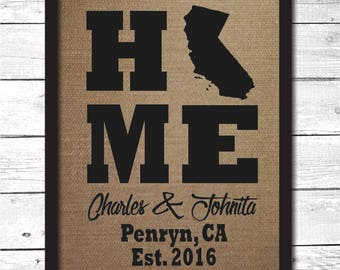 home sign, home state sign, home gifts, home decor, burlap print, home state, personalized home state sign, burlap wall decor, H14
