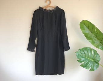 Vintage 1960's Black Wiggle Dress with Organza Ruffle Boat Neckline