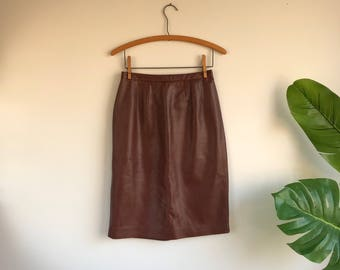 Brown Leather Skirt / Supple Leather Size 6