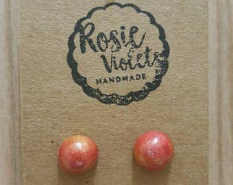 Red and gold marbled polymer clay stud earrings