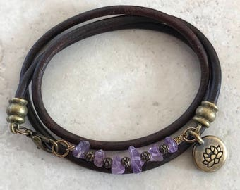Amethyst Leather Wrap Bracelet