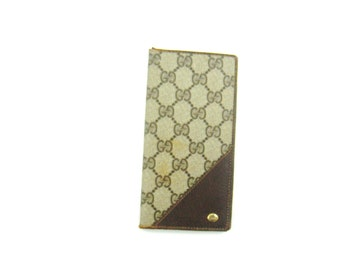 Vintage Gucci Brown Supreme Gg Monogram Canvas Leather Long Bifold Italy Wallet