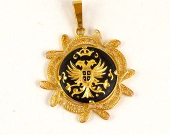 Spanish Damascene Eagle Pendant, Black Gold, Gold Wire Filigree, Coat of Arms Pendant, Toledo Spain, Etched, Engraved