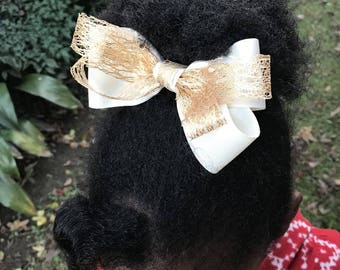 4 1/2 Inch Stacked Gold and Beige Pinwheel Hair Bow