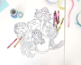 Mermaid Craft Party Giant Coloring Stickers|Paper Party Supplies|Personalize Page|Coloring Page.