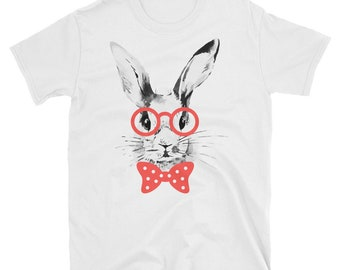 Bunny rabbit with glasses short sleeve unisex t-shirt
