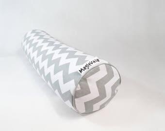 "Buckwheat hull bolster pillow, yoga bolster, roll pillow, decorative bolster cushion, buckwheat pillow, gray zigzack 18"" x 5''"