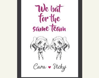 couples print lesbians lgbtq personalised harley quinn anniversary valentines day