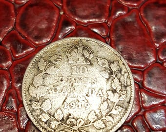 Canada George V 1919  Silver Ten Cents - VG