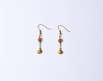 Beaded Sea Shell Drop Earrings