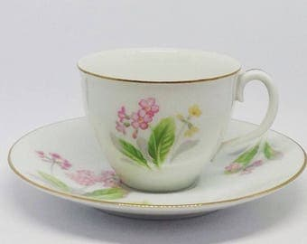 Noritake Toki Kaisha floral coffee cup and saucer, made in Japan, with sweet little pink flowers