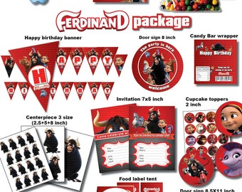 ferdinand the bull  package Printable - DIGITAL file (Non personalized) Birthday party Printable