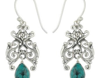 Lavish Sterling Silver Earrings with Dangling Turquoise Gemstone
