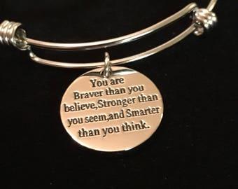 Braver/Stronger then you know, bangle charm bracelet