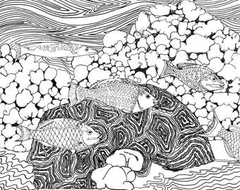 Cayman Coral Reef Coloring Page, Adult Coloring Printable, Coloring Pages for Adults, Cayman Life + Art, Print PDF Download