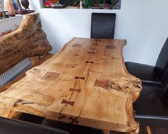 table SOLID OAK RUSTIC  live edge slab dining table for 6