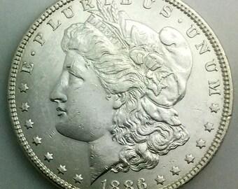 1886 USA Morgan Silver Dollar Gift Idea Belt Buckle Lustrous Coin
