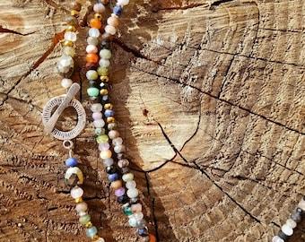 "Mixed Gemstones Long Necklace 47"""