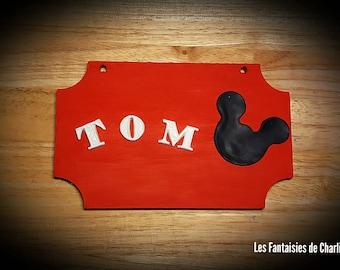 """Door plaque personalised """"Mickey"""""""
