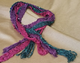 Purple sequined tasseled scarf