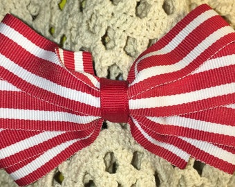 Boutique Bow, Stacked Boutique, Fancy Bow, Red Barrette, Easter Bow,  girls barrette, layered over the top, Red and White Stripes, 4 1/2""