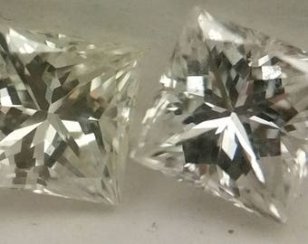 Matched Pair of Princess Shape Loose Diamonds, .30cttw, F-G, SI1