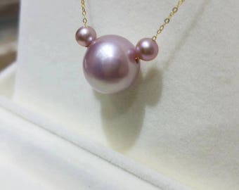 Beautiful Pink Edison Pearl Necklace in 18K Yellow Gold Chain High Quality Baroque Pearl w/Genuine Freshwater Pearl Necklace,Bridal Necklace