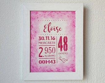 Custom painting made of cut paper watercolor birth statistics kids