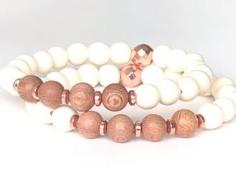 Mala bracelet mala beads Mala beads bracelet yoga bracelet Rosewood Whitewood hematite rose gold Wooden beads stacking bracelet 108 mala