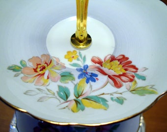 English china cake stand in soft blue colour - can be both 2 or 3 Tier - for high tea