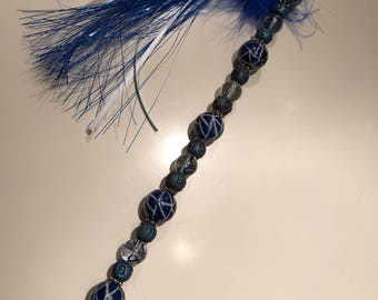Handmade metal wired Cat Teaser Toy - Blue Long