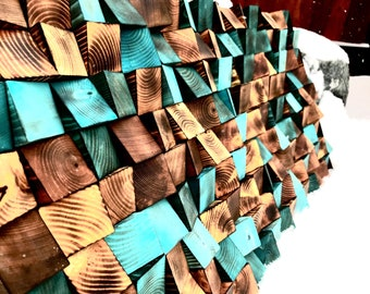 "Reclaimed, Rustic, Living room, Mantle, Sound, Wood Art, Wall Art, Wood, Beach, Abstract, Teal, Aqua, Reclaimed Wood, Distress, ""Explore"""