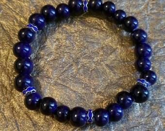 Blue stretch cord bracelet