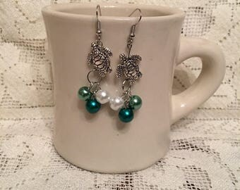 Turtle and Pearl Dangle Earrings
