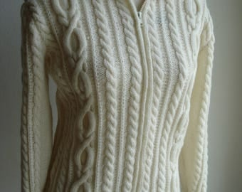 Traditonal Irish Aran Hand Knitted Lumber Jacket Cardigan Made from Merino Wool