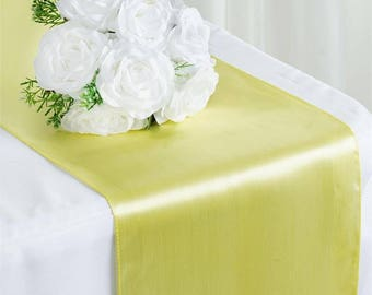 SALE FIVE Yellow Satin Table Runners Easter Wedding Table Setting Cloth Satin Wholesale Baby Shower Bridal Cheap Party Chicks Sunny Spring