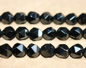 Black onyx  faceted stars cut nugget beads 6mm 8mm 10mm ,loose beads,semi-precious stone,15 Inches Full strand
