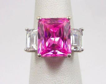 Solid 14K White Gold Emerald Cut Hot Pink CZ Ring, 6 grams, Size 6.25