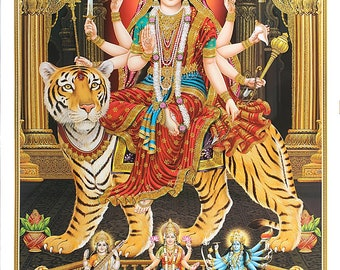 Maa Durga Golden Zari Art Work Poster Without Frame (25 X 36 Inches)