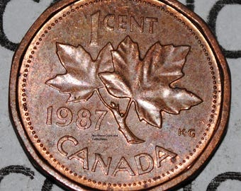 Canada 1987 1 Cent Copper Coin One Canadian Penny